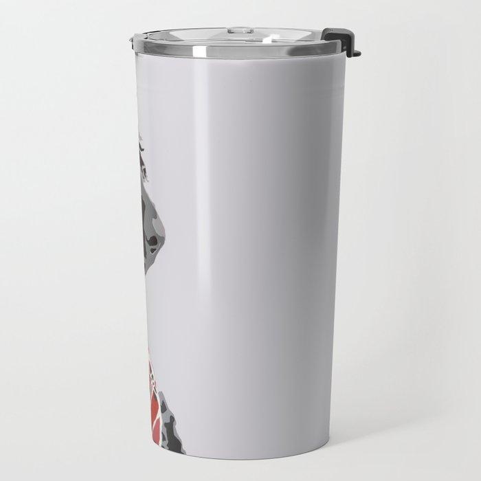 Black Standard Poodle in Grey and Red Travel Mug