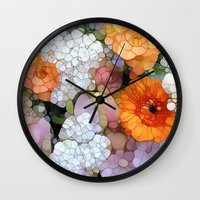 contemporary Wall Clocks featuring Joy is not in Things, it is in Us! by Joke Vermeer