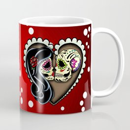 Ashes - Day of the Dead Couple - Kissing Sugar Skull Lovers Coffee Mug