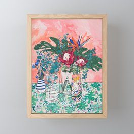 Cockatoo Vase - Bouquet of Flowers on Coral and Jungle Framed Mini Art Print