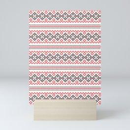 Folk Slavic Ornament - Strength of the Seeding Field - Pixel Ethno Pattern Mini Art Print