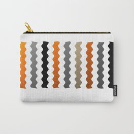 Vertical Waves - Metallic Gold, Silver and Black Vertical Wavy Stripes Carry-All Pouch