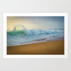 Crashing waves at Makaha Art Print