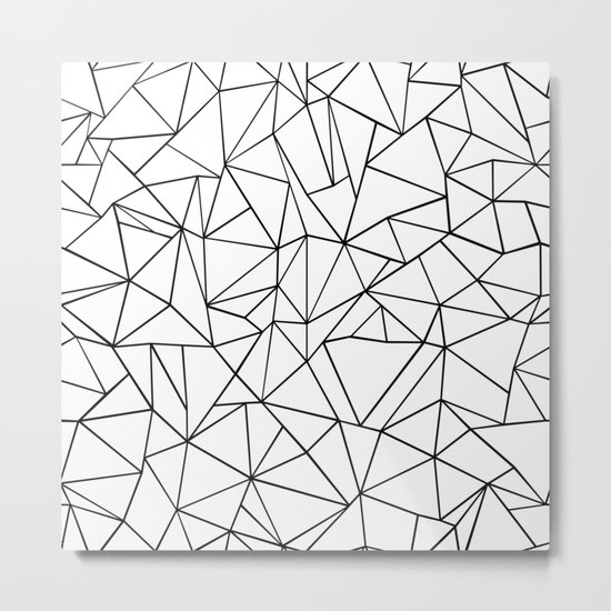 Abstract Outline Black on White Metal Print