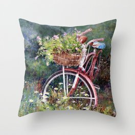 Red Bicycle Between the Weeds Throw Pillow
