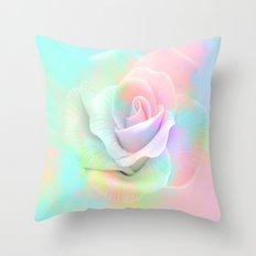 Soft Colorful Rose By Annie Zeno  Throw Pillow