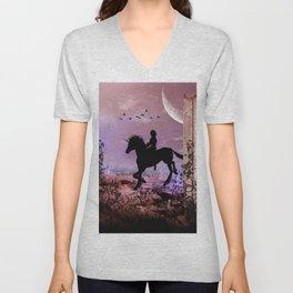 The unicorn with fairy Unisex V-Neck