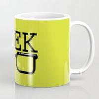 geek Mugs featuring Geek by Farah Saheb