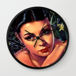 Jesus Helguera Painting of a Sultry Spanish Calendar Girl Wall Clock