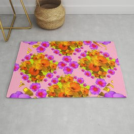 Pink Coral Cerise Roses & Daffodils Floral Rug