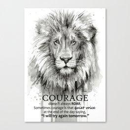 Lion Courage Motivational Quote Watercolor Painting Canvas Print