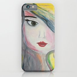 Pretty Girl. Yellow Pink and Green Girl Painting by Jodi Tomer. Figurative Abstract Pop Art. iPhone Case