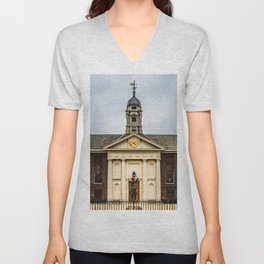 Royal Hospital Facade and Clock Chelsea London England Unisex V-Neck