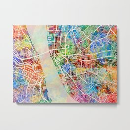 Liverpool England Street Map Metal Print