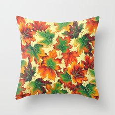 Autumn maple leaves I Throw Pillow
