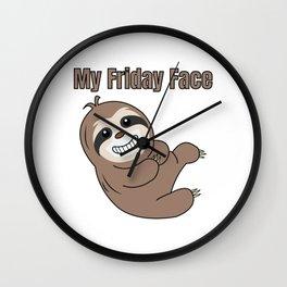 Funny, Lazy But Cute Tshirt Design My Friday Face Sloth Wall Clock