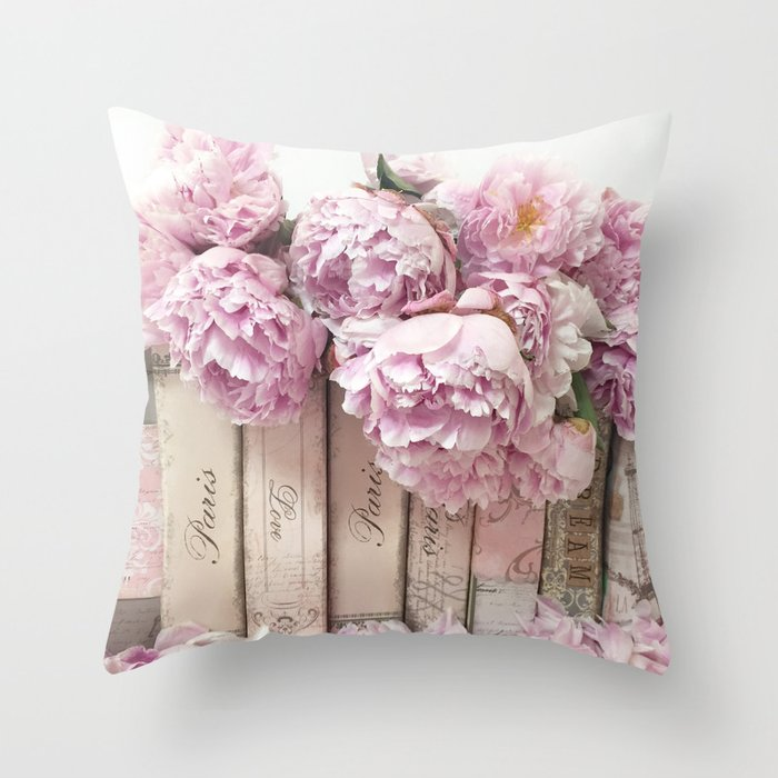 Shabby Chic Pink Peonies Paris Books Wall Art Print Home Decor Throw Pillow