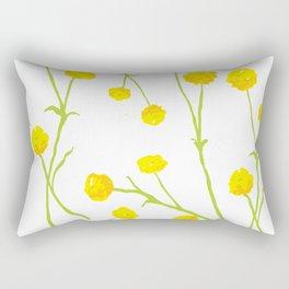 Summer Flower Pattern in Yellow and Green Rectangular Pillow