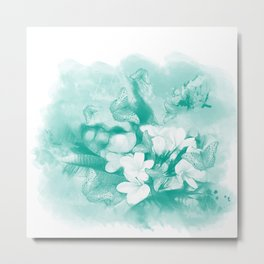 Butterflies and tropical flowers in stunning teal Metal Print