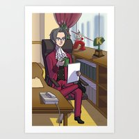 ace attorney Art Prints featuring Ace Attorney: King of Prosecutors by Crystal Kan