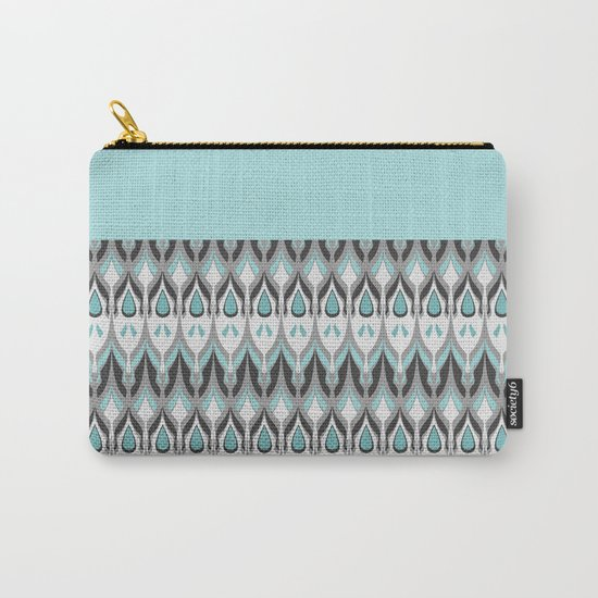 Abstract grey blue zigzag . Carry-All Pouch