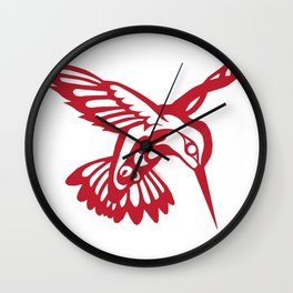 Hummingbird Red on black Wall Clock
