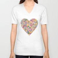 emoji V-neck T-shirts featuring emoji / emoticons by Marta Olga Klara