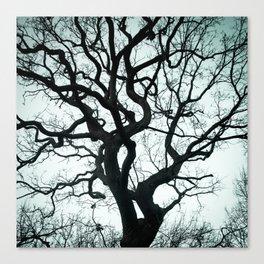 Tree Silhouette - Blue Canvas Print