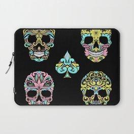 Floral Day Of Dead Sugar Skulls Laptop Sleeve
