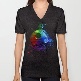 Death Star Abstract Painting - Colorful StarWars Art Unisex V-Neck