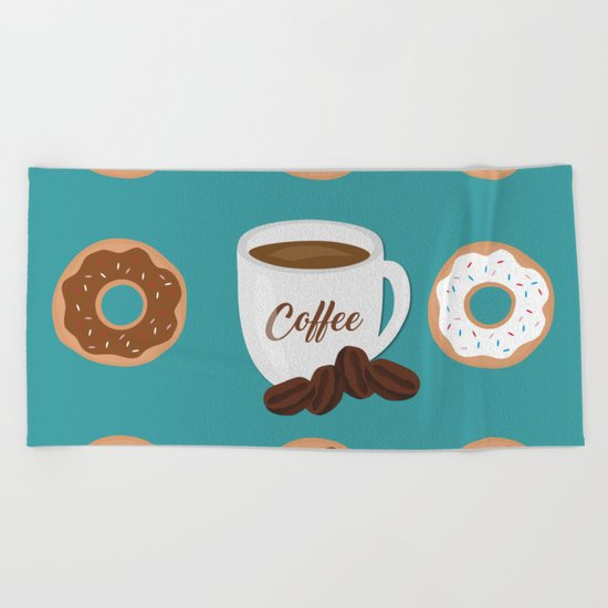 Coffee and Donuts Beach Towel