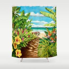 Floral Beach Path Shower Curtain