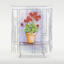 The Pot Geranium Shower Curtain