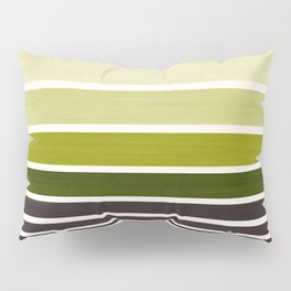 Olive Green Minimalist Watercolor Mid Century Staggered Stripes Rothko Color Block Geometric Art Pillow Sham