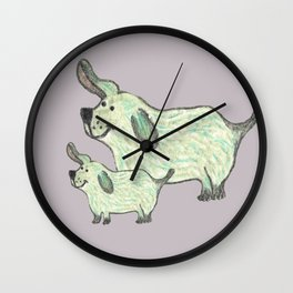 Two of a kind - cute parent dog with child Wall Clock