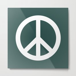 Peace (White & Dark Green) Metal Print