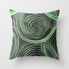 Black, white and green spiraled coils Throw Pillow