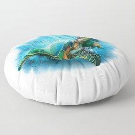 Abstract Watercolor Sea Turtle on White 3 Minimalist Coastal Art - Coast - Sea - Beach - Shore Floor Pillow