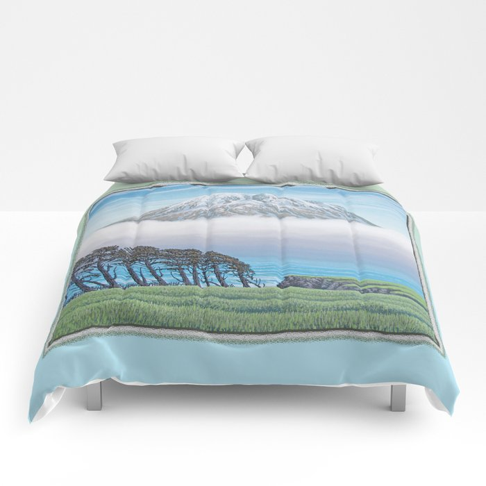 WINDSWEPT SEASIDE CYPRESS ROW AND LONE MOUNTAIN OIL PAINTING Comforters