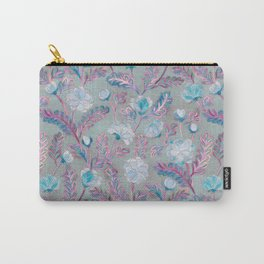 Soft Smudgy Blue and Purple Floral Pattern Carry-All Pouch
