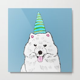 Samoyed with Party Hat Metal Print