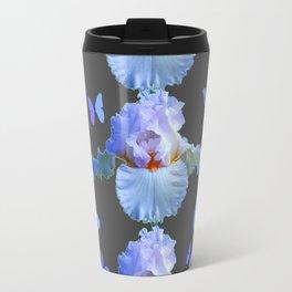 LILAC-PURPLE BLUE BUTTERFLIES  BROWN ART DESIGN Travel Mug