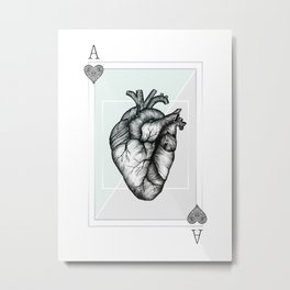 Ace Of Hearts - Mint Metal Print