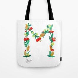 Initial Print, Floral Monogram Letter M Tote Bag
