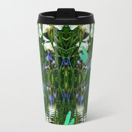 TURQUOISE DRAGONFLIES IRIS WATER REFLECTIONS Travel Mug