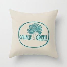 Village Green Bookstore Green on Tan Throw Pillow