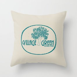 Village Green Bookstore Green on Tan Throw Pillow