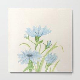Watercolor Garden Flower Blue Cornflower Wildflower Metal Print