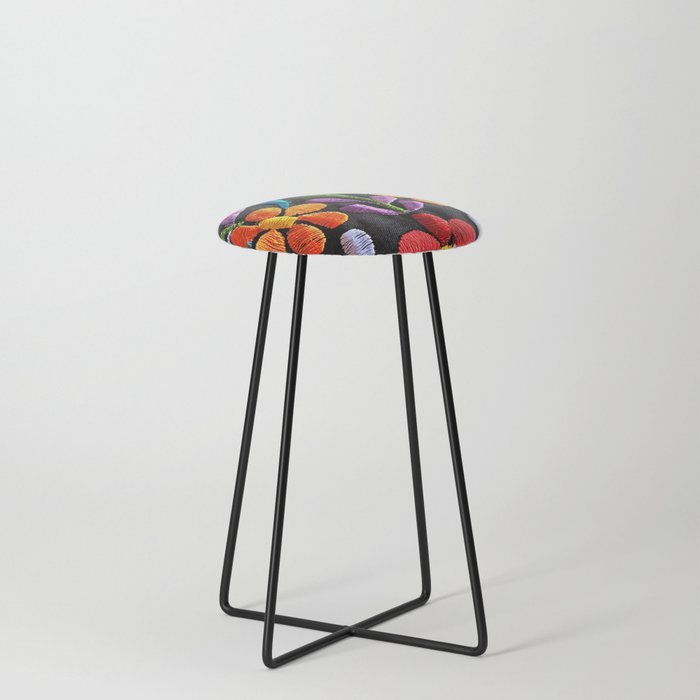 Mexican Flowers Counter Stool