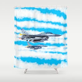 F-16 Fighting Falcon Jets In Flight Shower Curtain